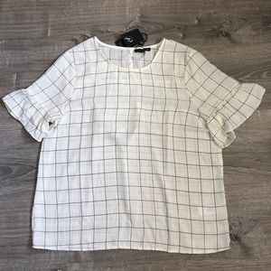 NWT Adrianna Papell Crepe Bell Cuff Blouse